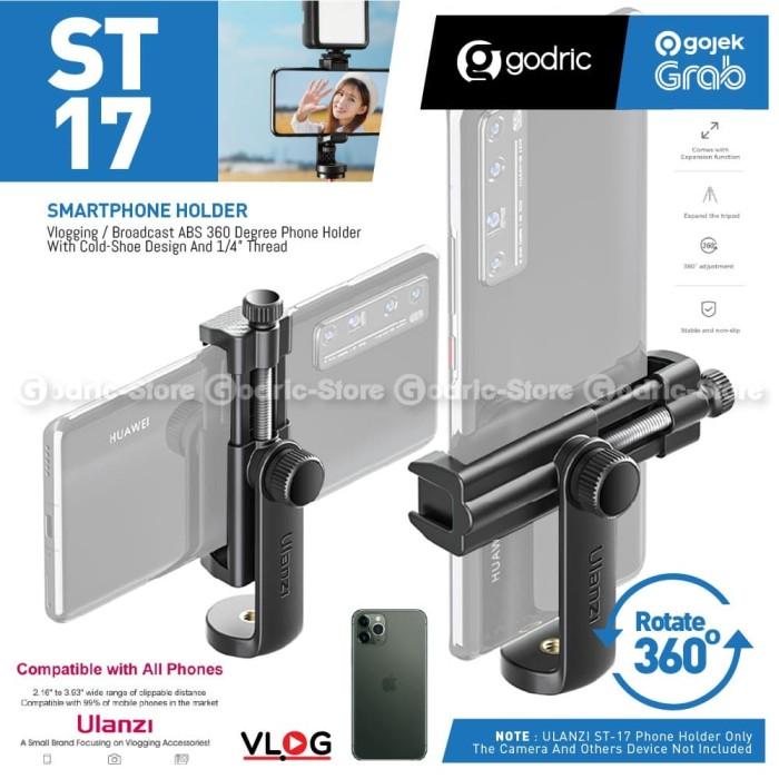 Foto Produk ULANZI ST-17 Holder HP Aluminium 360 Tripod Mount Smartphone Cold Shoe dari Godric Store