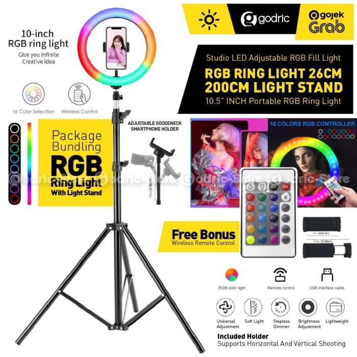 Foto Produk Set RGB Ring Light 26CM (w/ REMOTE) Tripod Light Stand 200CM Lampu LED dari Godric Store