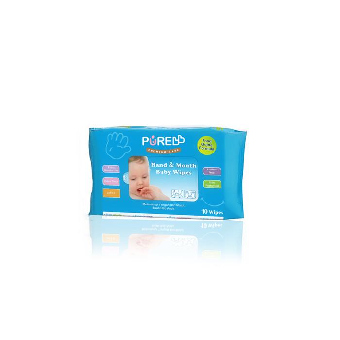 Foto Produk Pure BB Hand & Mouth Wipes (Tisu Basah Tangan Dan Mulut) - Aloe Vera, 6 x 10 Sheets dari KiosCepat