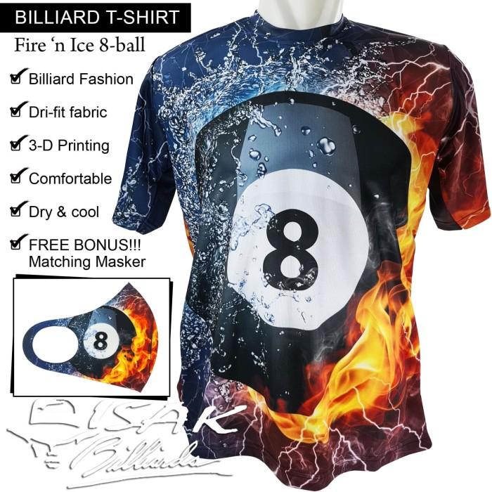 Foto Produk T-shirt Billiard - Fire 'n Ice 8-ball Kaos Dri-fit Oblong ISAK Pool - M dari ISAK Billiard Sport Co.