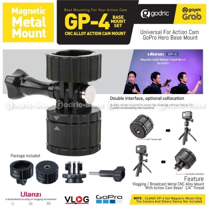 Foto Produk ULANZI GP-4 Magnetic Set Mount Adapter 1/4 Tripod Action Camera GoPro dari Godric Store