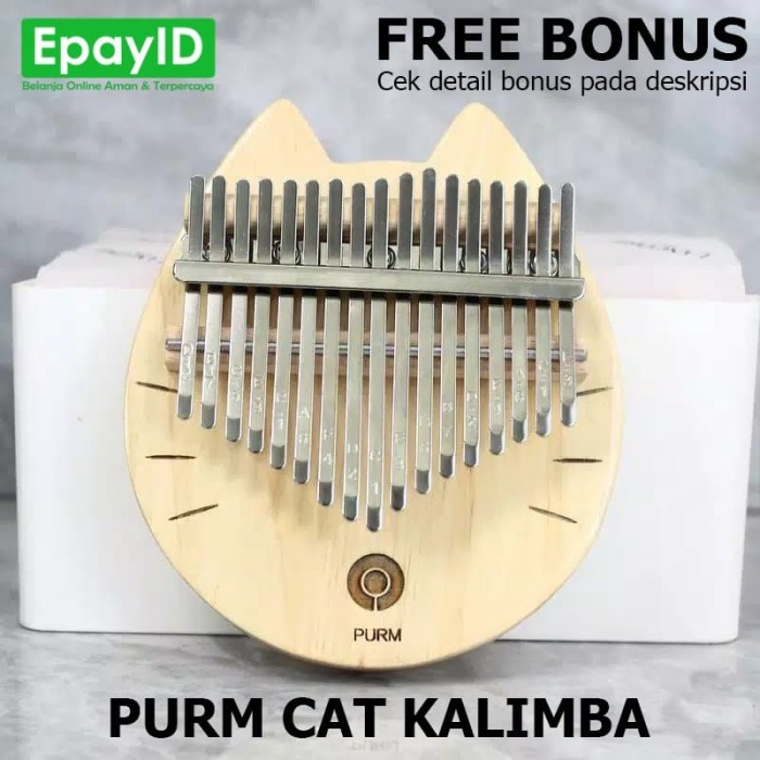 Foto Produk PURM CAT KALIMBA 17 KEYS PINE WOOD CUTE CAT KUCING FREE BONUS dari Epay ID