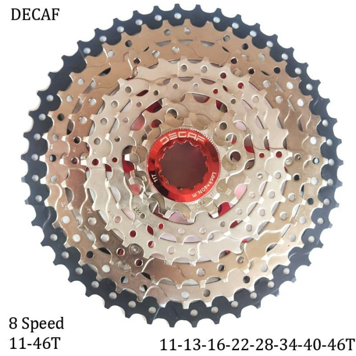 Foto Produk DECAF SPROCKET CASSETTE 8 SPEED 11-46T Gear Sepeda dari vesantra