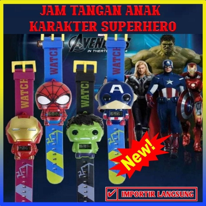 Foto Produk JAM TANGAN ANAK KARAKTER PENCET/JAM TANGAN SUPERHERO ROBOT - 100076 - Random dari Indo Shop Jakarta