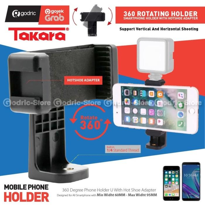 Foto Produk Takara PH-03 Smartphone Holder 360 Cold Hot Shoe Adapter u/ LED MIC HP dari Godric Store