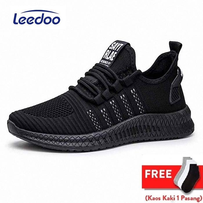 Foto Produk Leedoo Sepatu Pria Sneakers Running Young Lifestyle Hitam mr112 - Hitam, 40 dari Leedoo