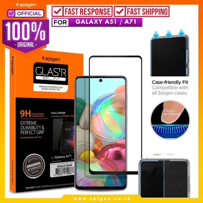 Foto Produk Tempered Glass Samsung Galaxy A51 / A71 Spigen Glas tR Full Cover - A51 dari Spigen Official