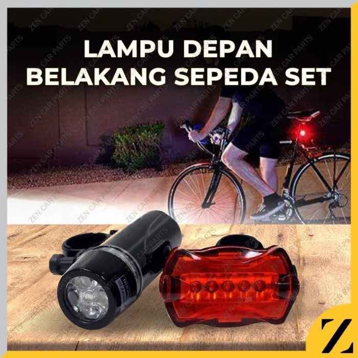 Foto Produk Lampu sepeda Depan Belakang SET Baterai Non Rechargeable dari Zen Car Parts