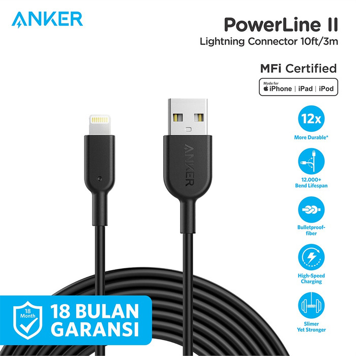 Foto Produk Kabel Charger Anker PowerLine II Lightning 10ft Black - A8434 - Hitam dari Anker Indonesia