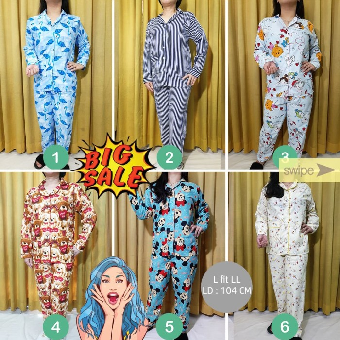 Foto Produk Piyama Free Size L-LL Lengan Panjang Wanita PP Set Baju Tidur dari Millen Collection