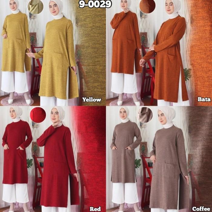Foto Produk Baju Atasan Wanita Terbaru Tunik Bahan Premium Sweater 9-0029 - Coffee dari Hitjab & Co