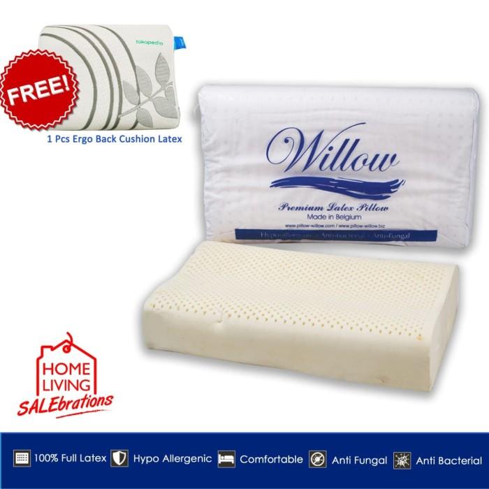 Foto Produk Bantal Latex Ergonomic Jumbo BONUS Ergonomic Back Cushion Latex dari Willow Pillow