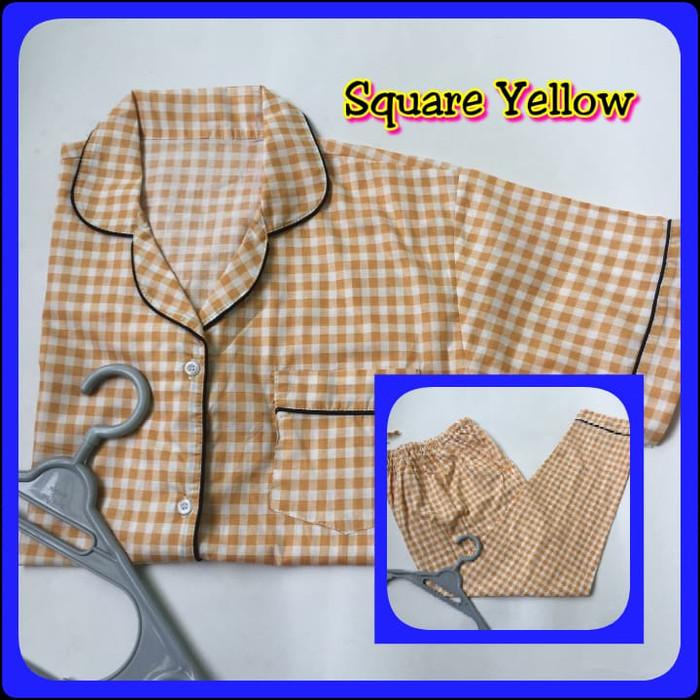 Foto Produk Piyama Katun Jepang Wanita Square Series - Square Yellow, Celana Panjang dari Jasmine Clothing Line