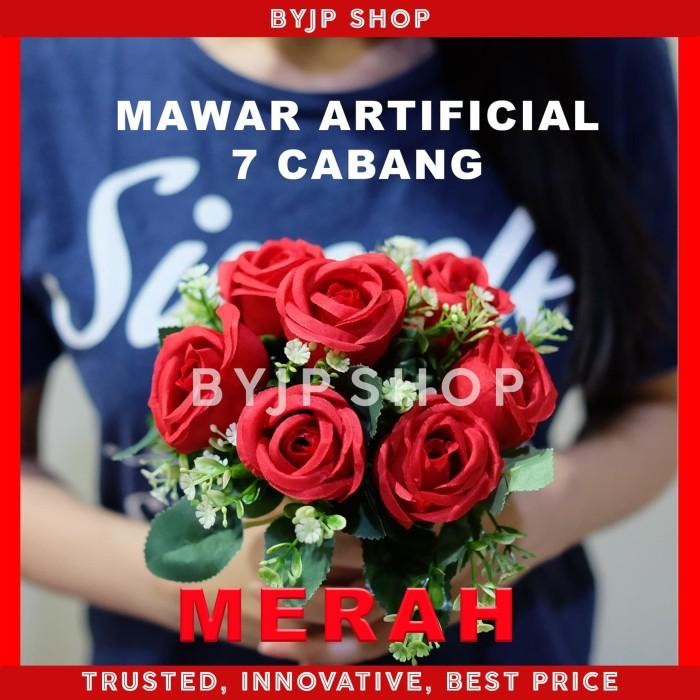 Foto Produk ARTIFICIAL ROSE BUKET BUNGA MAWAR PALSU DEKORASI PREMIUM FLOWER RED dari By JP shop