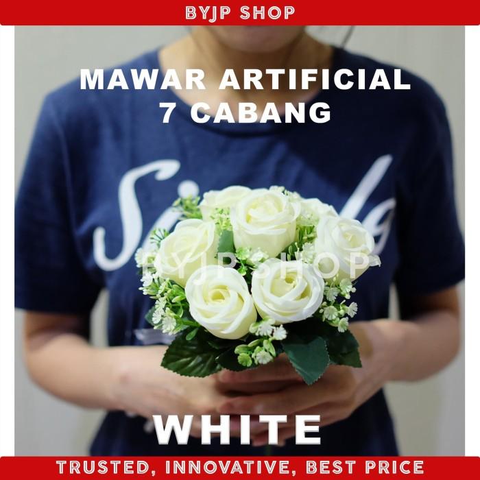 Foto Produk ARTIFICIAL ROSE BUKET BUNGA MAWAR PALSU DEKORASI PREMIUM FLOWER WHITE dari By JP shop