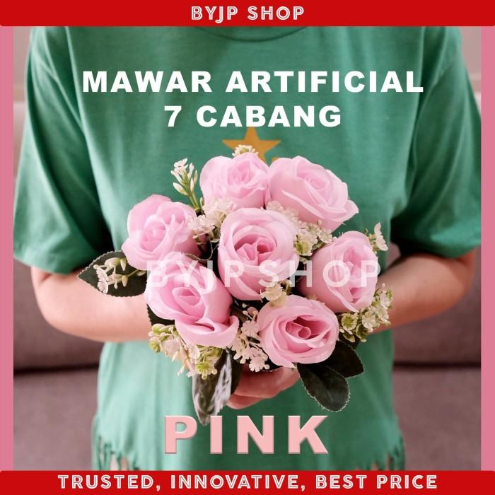 Foto Produk ARTIFICIAL ROSE BUKET BUNGA MAWAR PALSU DEKORASI PREMIUM FLOWER PINK dari By JP shop