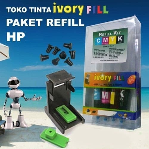 Foto Produk paket suntikan refill cartridge HP tinta tool kit bor karet isi ulang dari toko tinta