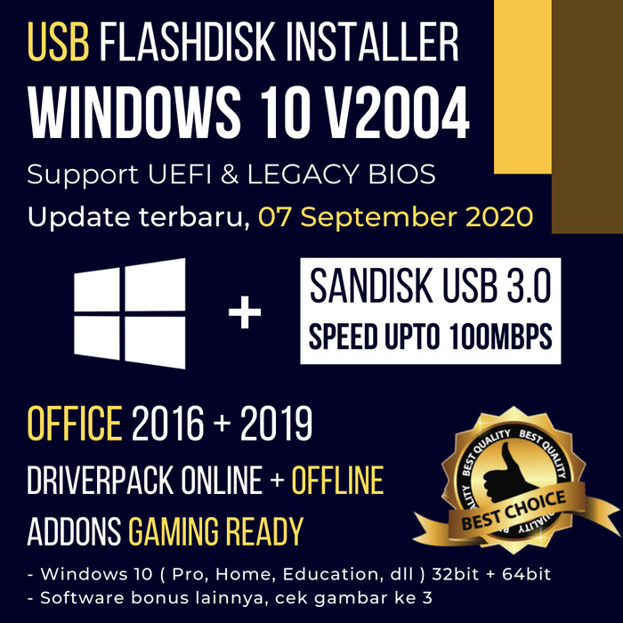 Foto Produk USB FLASHDISK BOOTABLE INSTALLER WINDOWS 10 INSTALL ULANG 16GB SANDISK - USB 3.0 Sandisk dari Reintone