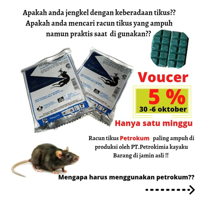 Foto Produk Racun Tikus Racun Tikus Petrokum Pembasmi Tikus Mati Kering Tidak Bau dari kitchen centre