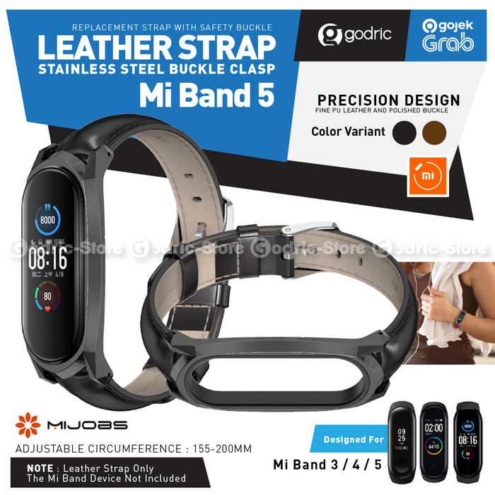Foto Produk MIJOBS MiBand 5 Leather Wrist Strap Kulit for Xiaomi Mi Band 5 / 4 / 3 - BLACK dari Godric Store