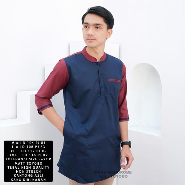 Foto Produk [Koko Taror size XXL NI]Baju koko pria matt toyobo varian warna - Navy dari FASHIONISTA's GROSIR