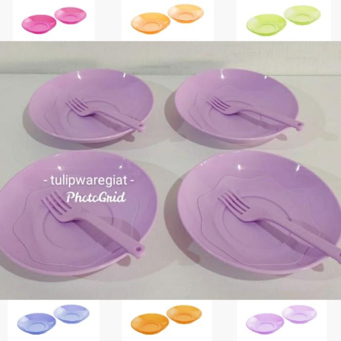 Foto Produk fancy saucer set tulipware / piring kue + tea fork twin tulipware dari TULIPWARE collection