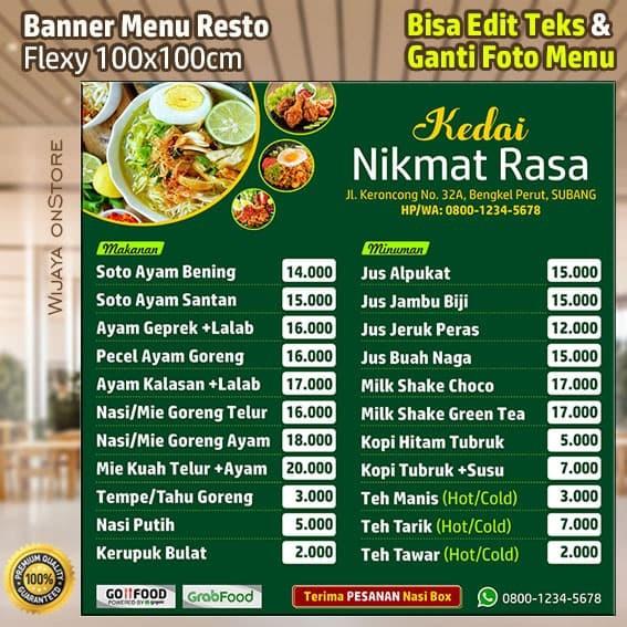 Jual Spanduk Menu Makanan Restoran Cafe plus Edit Desain ...