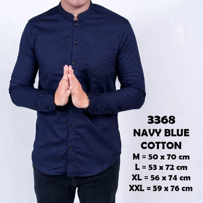 Foto Produk Kemeja pria kerah shanghai koko lengan panjang slimfit BIRU NAVY BLUE - Navy, M dari ago helmi shop