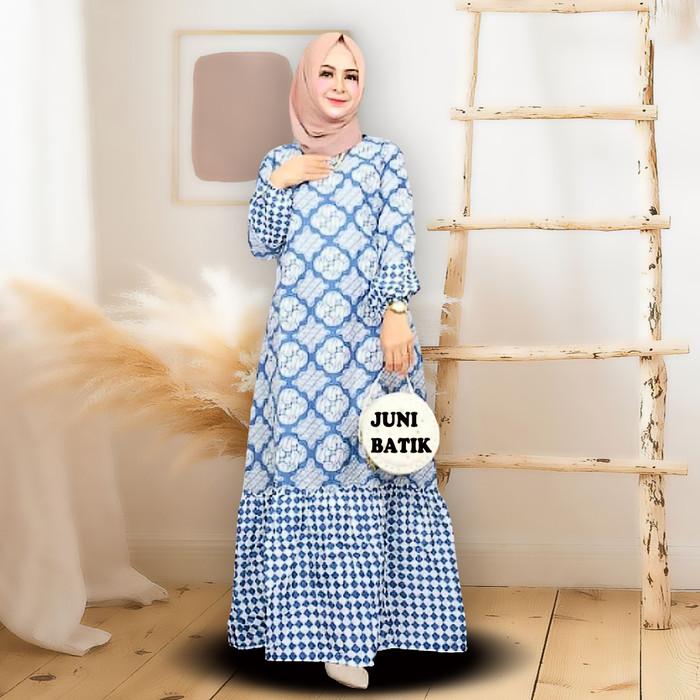 Foto Produk Gamis Batik Kombinasi Baju Muslimah Wanita Lokal Bahan Katun Murah - Parang Kombi, All Size dari juniart_batik