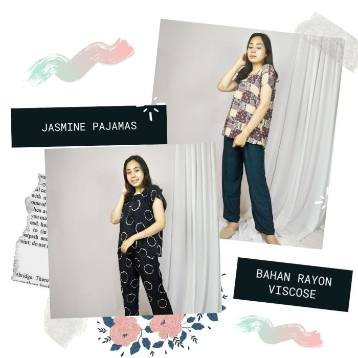 Foto Produk JASMINE PAJAMAS. PIYAMA JUMBO - LD130 - BAHAN RAYON A - MOTIF LUCU dari Al & Sofia