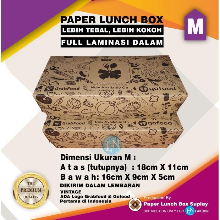 Foto Produk PAPER LUNCH BOX UK.M MOTIF BROWN GOFOOD GRABFOOD/ KEMASAN MAKANAN dari LAKUON