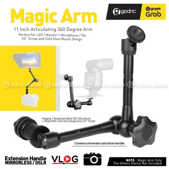 "Foto Produk Magic Arm 11 Inch 11"" Bracket LCD LED w/ Ball Head & Hot Shoe Adapter dari Godric Store"