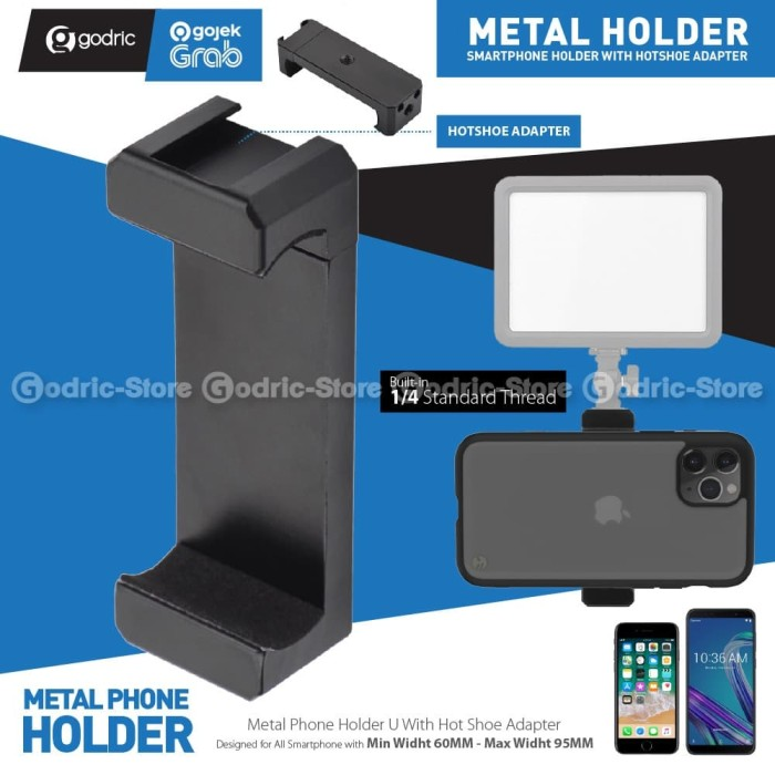 Foto Produk Holder U METAL GH-M Smartphone Hot Shoe Bracket LED / Dudukan Mic HP dari Godric Store