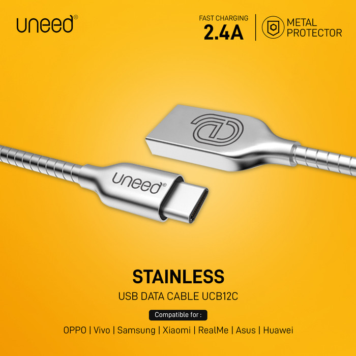 Foto Produk Uneed Stainless Steel Kabel Data Type C Fast Charging 2.4A - UCB12C - Silver dari Uneed Indonesia