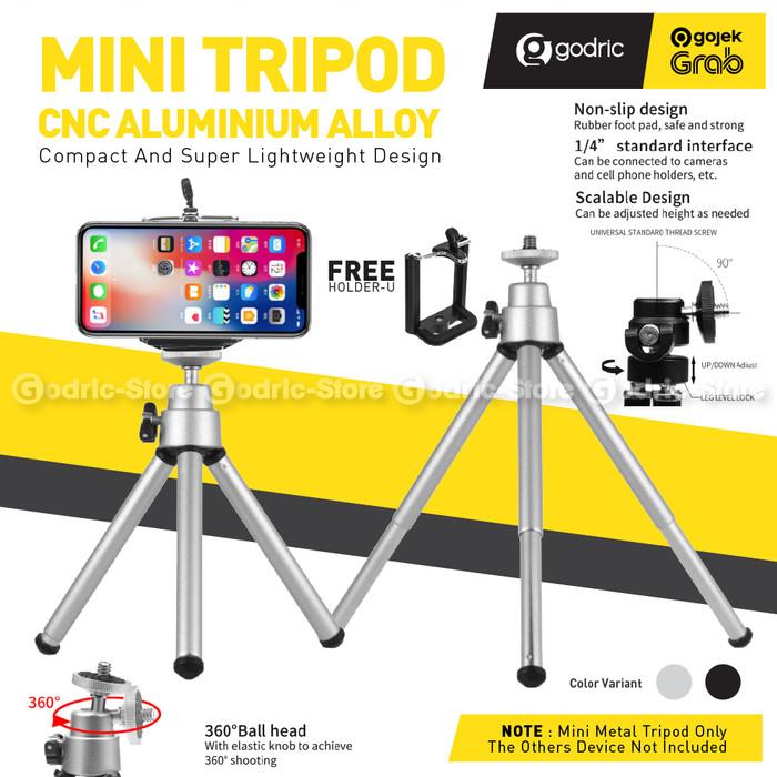 Foto Produk Desktop Mini Tripod HP 2-Section with Holder U Universal Smartphone - SILVER dari Godric Store