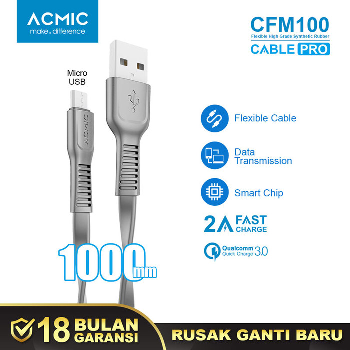 Foto Produk ACMIC CFM100 Kabel Data Charger Micro USB 100cm Fast Charging Cable - Space Grey dari ACMIC Official Store