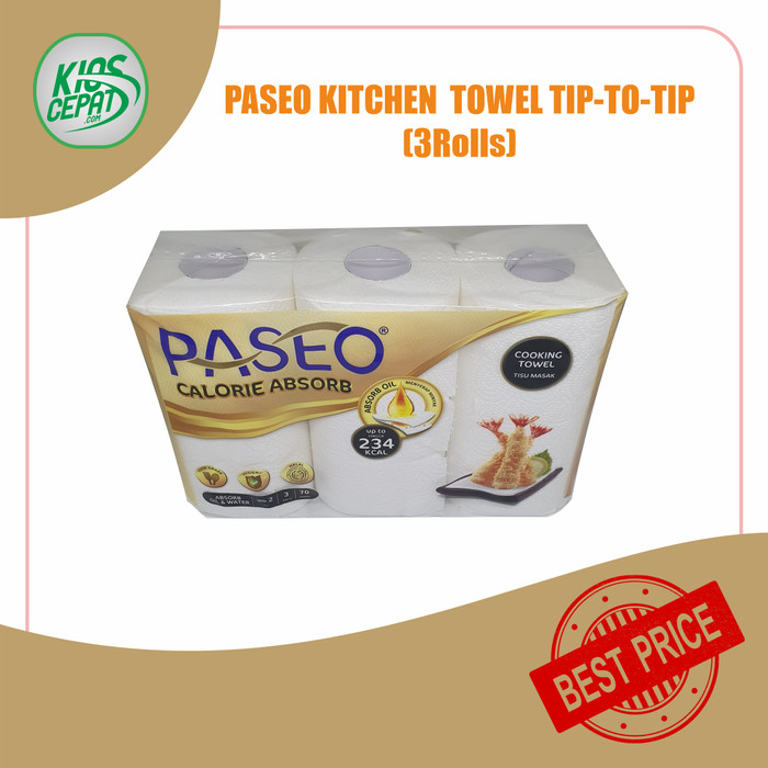 Foto Produk Tissue PASEO Kitchen Towel / Calorie Absorb 3in1 (1Pack ISI 3Rolls) dari KiosCepat