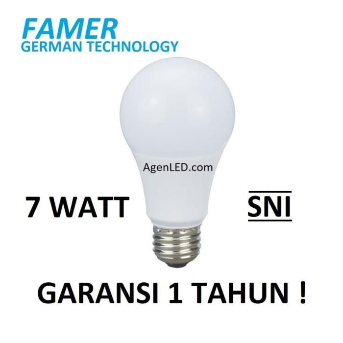 Foto Produk FAMER Lampu LED 7W Bohlam 7 w watt Putih Bulb 7watt 6 8 white GARANSI dari AgenLED