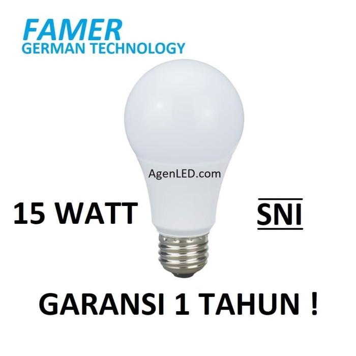 Foto Produk FAMER Lampu LED 15W Bohlam 15 w watt Putih Bulb 14 12 white GARANSI dari AgenLED