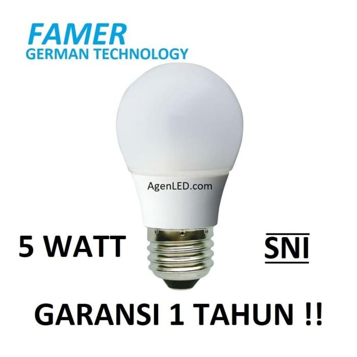 Foto Produk FAMER Lampu LED 5W Bohlam 5 w watt Putih Bulb 5watt 3 4 white GARANSI dari AgenLED