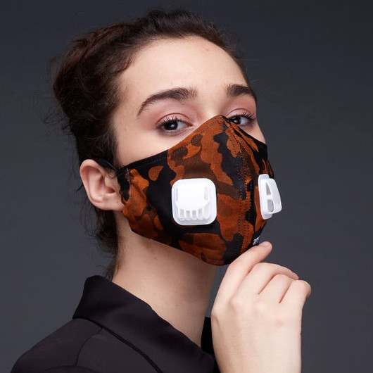 Foto Produk 2Madison Army Orange Facemask With Air Valve / Masker dengan Katup Uda - HEADLOOP dari 2MADINAH by 2Madison