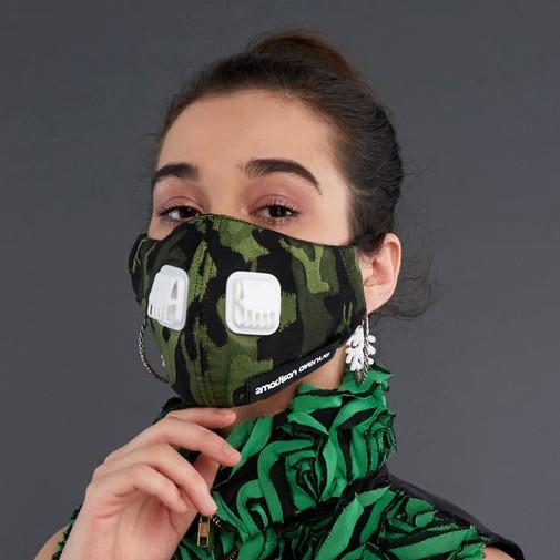 Foto Produk 2Madison Army Green Facemask With Air Valve / Masker dengan Katup Udar - HEADLOOP dari 2MADINAH by 2Madison