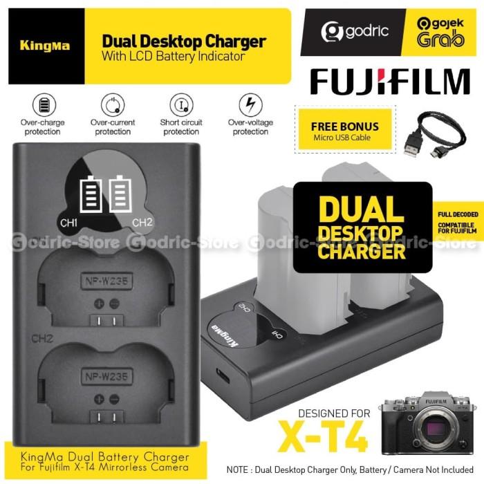 Foto Produk KINGMA LCD DUAL CHARGER NP-W235 for Fujifilm XT4 X-T4 NP W235 Etc dari Godric Store