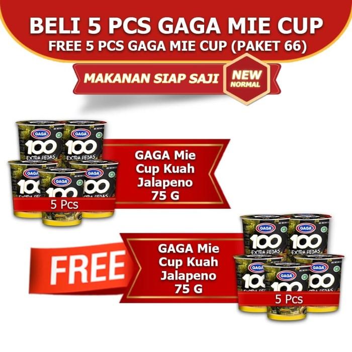 Foto Produk Mie Cup GAGA100 Extra Pedas Kuah Jalapeno Beli 5pcs FREE 5pcs (GG66) dari Gaga Official Store