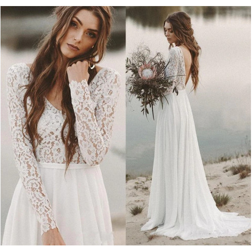 Jual Long Sleeves Beach Wedding Dresses Backless Bridal Dress Chiffon Putih S Kab Tangerang Wedding Mart Tokopedia