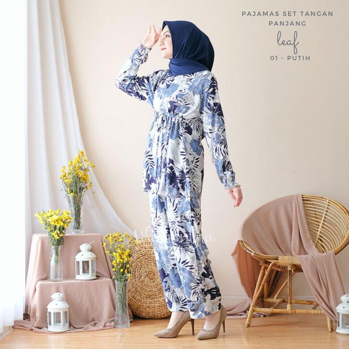 Foto Produk Pajamas Set Celana Muslim BUSUI Friendly Leaf 01 - Putih dari Beli Mukena