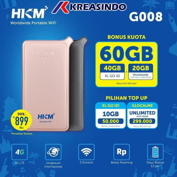Foto Produk HKM G008 Mifi Router 4G LTE Free XL GO IZI dan Worldwide 60gb - Gold dari Kreasindo Online