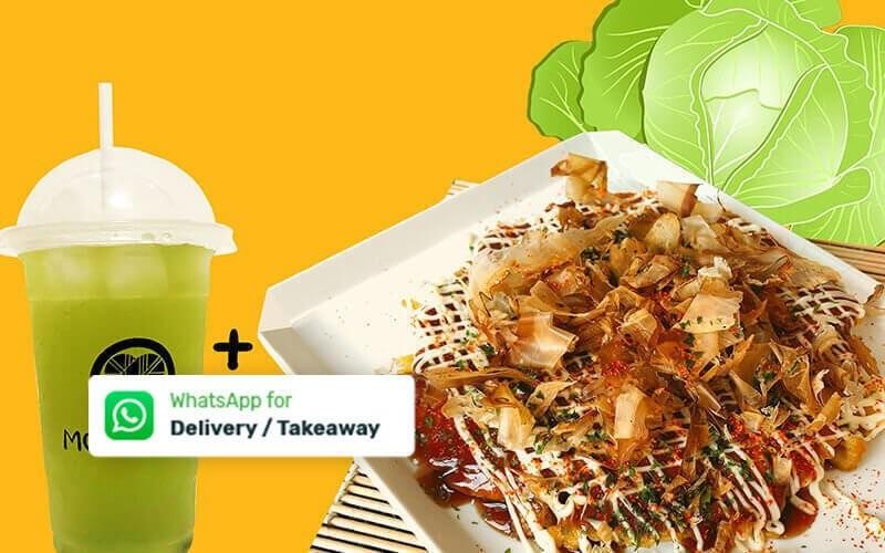 1 Set Okonomiyaki + Ocha Cold - Dine In & Take Away