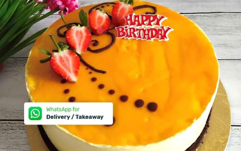 Delivery & Take Away - 1 Mango Mousse Round Cake (20 Cm)