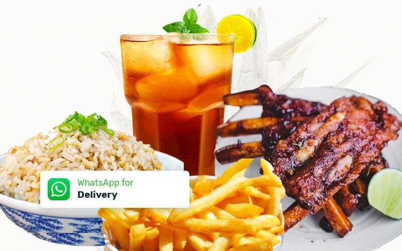 Cheap Deal Set: 200gr BBQ Pork Ribs + Fried Rice + French Fries + Ice Lemon Tea - Free Delivery